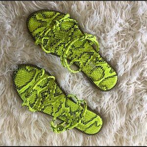 Fashion Nova Neon green snake print sandals